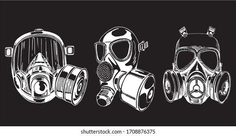 Graphical set of gas masks isolated on black background, vector engraved illustration, virus elements