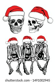 Graphical  set of human skeletons in Santa Claus hat isolated on white, vector new year illustration