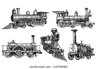 Graphical set of locomotives isolated on white background,vector train,transport for printing