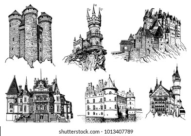Graphical set of medieval castles isolated on white background, castles of Germany, Crimea, France