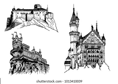graphical set of medieval castles isolated on white background, castles of germany, crimea, italy