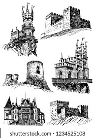 Graphical set of medieval castles isolated on white background,vector Crimean architecture ,fortress