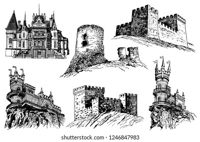 Graphical set of medieval castles isolated on white background,medieval architecture,vector