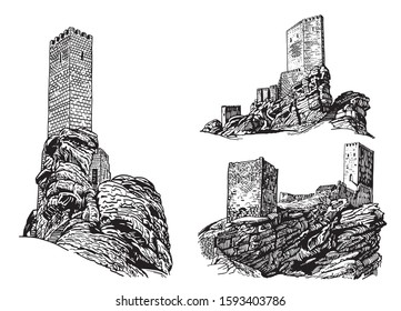 Graphical set of medieval castles isolated on white background,vector illustration, architecture