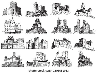Graphical set of medieval  castles isolated on white background,vector illustration