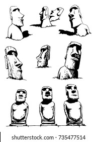 Graphical set of moai isolated on white background,vector illustration