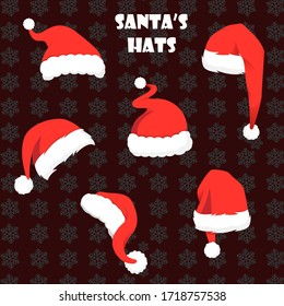 Graphical set of red Santa Claus hats isolated on black snow design background,vector illustration for designers