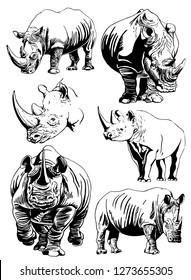 Graphical set of rhinos isolated on white background,vector illustration