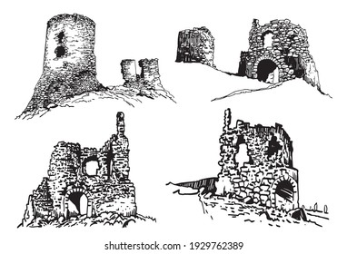 Graphical set of ruins of Crimea isolated on white background