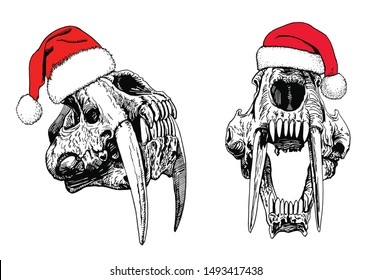 Graphical set of saber-toothed tiger skulls in Santa Claus hat ,vector new year illustration