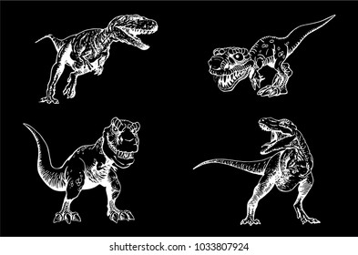 Graphical set of sketchy tyrannosaurus isolated on black background,vector