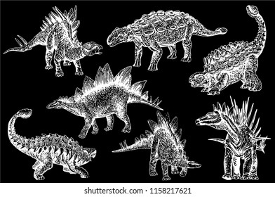 Graphical set of stegosaurs and ankylosauruses  isolated on black background,vector sketchy illustration