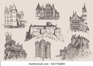 Graphical set of vintage medieval castles isolated on white background, castles of Germany, Crimea, France