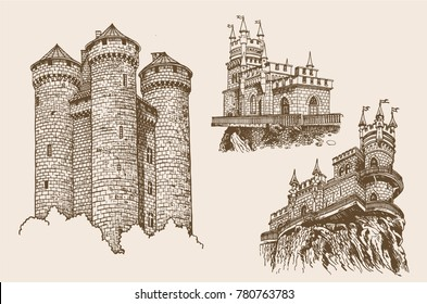 Graphical set of vintage medieval castles isolated,vintage sightseeing illustration,architecture