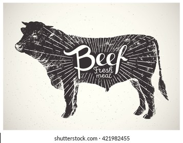Graphical silhouette bull and inscription.