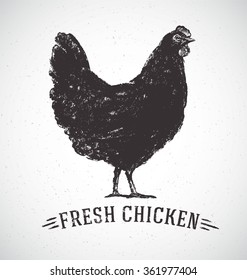 Graphical silhouette chicken and inscription hand drawn illustration.