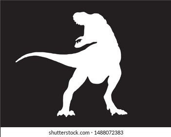 Graphical silhouette of dinosaur isolated on black,vector illustration