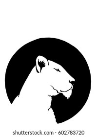 Graphical silhouette of puma on black round background, logo icon,tattoo