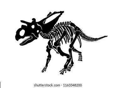 Graphical skeleton of einiosaurus isolated on white background,vector sketch for tattoo and printing