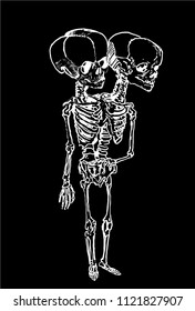 Graphical skeleton of siamese twins isolated on black,fashion tattoo sketch,vector illustration of monster