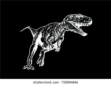 Graphical sketch of dinosaur isolated on black background,vector