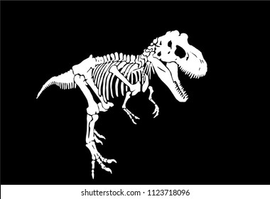 Graphical sketch of dinosaur skeleton isolated on black background,vector tyrannosaurus icon