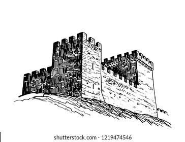 Graphical sketch of Genoese fortress isolated on white background,vector sightseeing,Crimea
