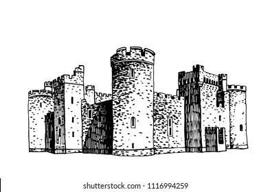 Graphical sketch of herstmonceux Castle, United Kingdom