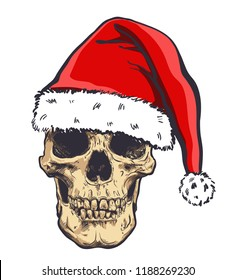 Graphical skull in New Years hat,vector illustration