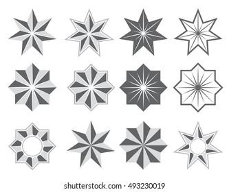 Graphical symbols in the form of a stylized 7 and 8-point star. Suitable for use in emblems, logos and so on. Vector illustration