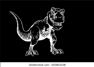 Graphical tyrannosaurus isolated on black background,vector illustration for tattoo ,coloring and printing