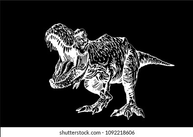 Graphical tyrannosaurus isolated on black background,vector sketchy illustration