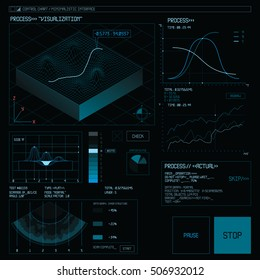 Graphical user interface. 3d graphic parameters dashboard. Data visualization on dark screen. Science Infographic design template