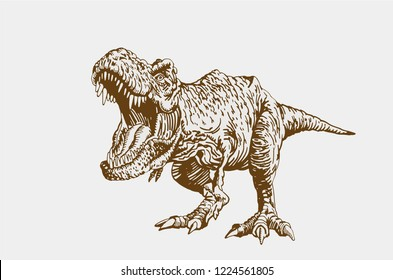 Graphical vintage angry dinosaur , retro background,vector tyrannosaurus,raptor