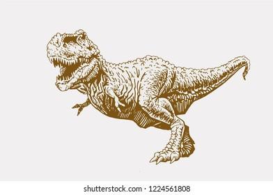 Graphical vintage angry dinosaur , retro background,vector tyrannosaurus,raptor