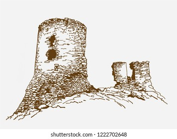 Graphical vintage  balaclava fortress , retro background,vector sightseeing ,medieval castle, Crimea