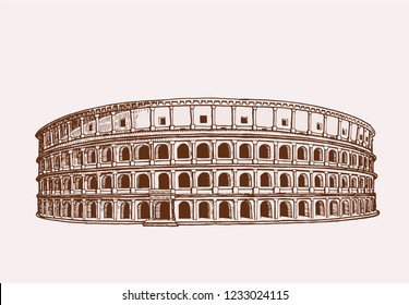 Graphical vintage coliseum,retro background, vector sightseeing,Italy,Rome