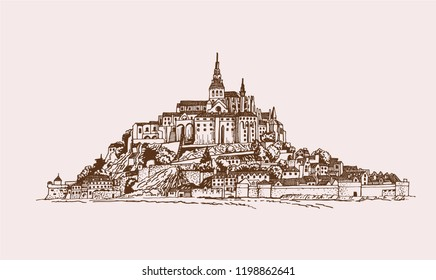 Graphical vintage Mont Saint -Michel medieval castle illustration , French sightseeing,vector