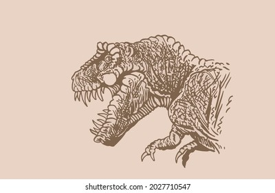 Graphical vintage portrait of tyrannosaurus, sepia background,vector illustration