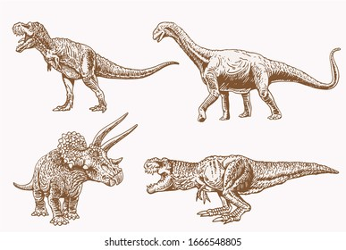 Graphical vintage set of dinosaurs, sepia vector illustration