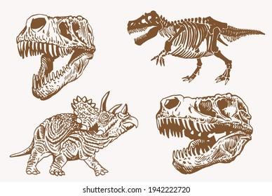 Graphical vintage set of dinosaurs ,sepia vector illustration,paleonthology