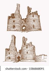 Graphical vintage set of dunstanburgh castles,vector  illustration,Great Britain