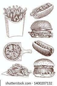Graphical vintage set of fast food , vector sketchy illustration