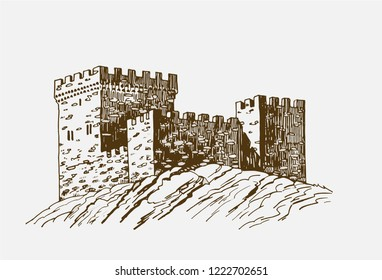 Graphical vintage sketch of Genoese fortress, retro background,vector sightseeing,Crimea