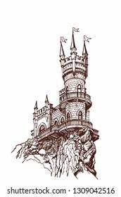 Graphical vintage Swallow nest, Crimean castle
