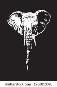 Graphical white portrait of elephant on black background,vector  engraved illustration