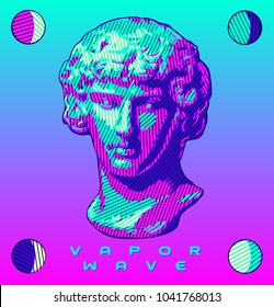 A graphically rendered sculpture bust in the style of ancient Greek and Roman sculptures, in bright saturated colors; This is vector artwork in the established style of vaporwave graphics.
