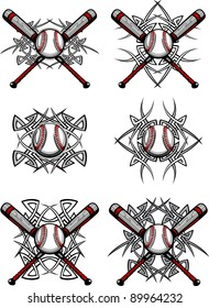 Graphics of a Baseball and bats with Tribal Borders