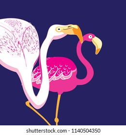Graphics beautiful portraits of pink flamingos on a blue background