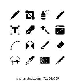 Graphics design tool icon set